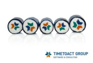 Werbebonbons mit Logo des Unternehmens Timetoact Group