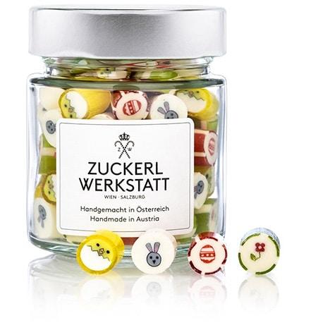 Oster-Edition: Osterzuckerl (Bonbons mit osterlichen Motiven) im Glas