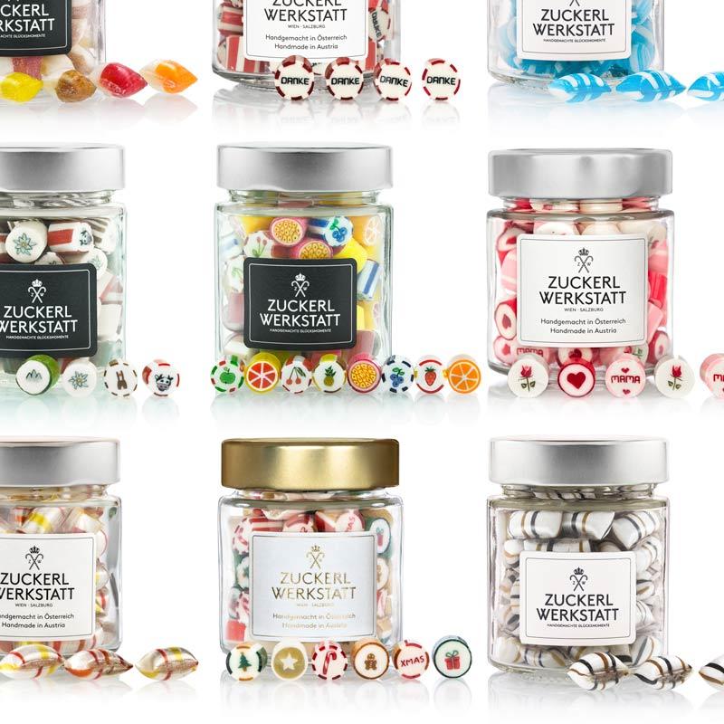 Bonbongläser mit verschiedenen Erzeugnissen aus der Zuckerlwerkstatt