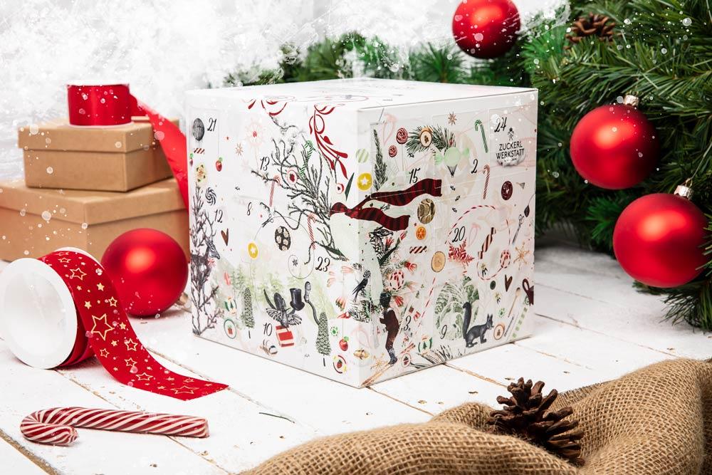 Schöner Adventkalender mit weihnachtlichen Motiven, gefüllt mit 24 süßen Überraschungen