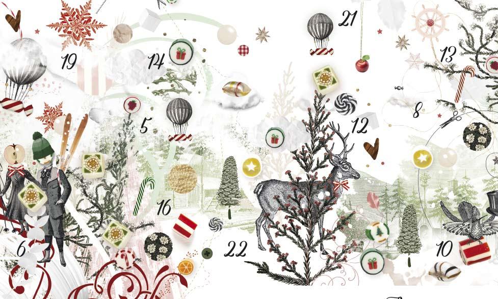 Weihnachts-Illustration mit vielen festlichen Weihnachtsmotiven