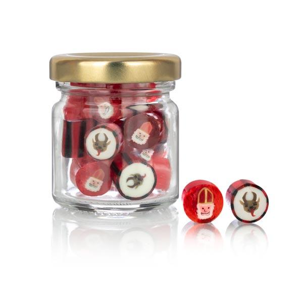 Nikolaus und Krampus Bonbons im Miniglas